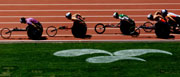 A general view of the men's 1.500 m in class 54 during the 2000 Paralympic Games in Sydney. © Sean Garnsworthy/Allsport