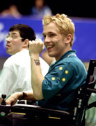 Scott Elsworth of Australia celebrates his win after his match against F. Bourbonniere at the Boccia during the Sydney 2000 Paralympic Games. © Scott Barbour/Allsport