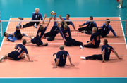 General View of action during Netherlands v Germany match in the men's Sitting Volleyball preliminaries during the 2000 Paralympic Games. © Matt Turner/Allsport