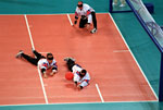 Picture from a men's goalball game between England and Finland at the 2000 Paralympic Games in Sydney. © Allsport